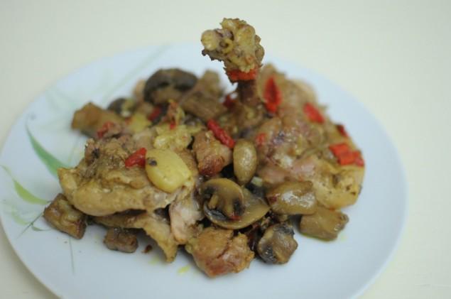 Körili soya soslu mantarlı tavuk